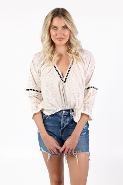 Darcy Eyelet Blouse, Free People, e.Allen, Nashville, Franklin, Murfreesboro