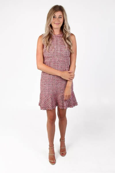 Frayed Edges Dress Pink Tweed e.Allen Nashville Murfreesboro Franklin