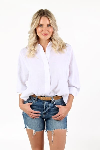 Eleanor Shirt in White, Willow, e.Allen, Nashville, Franklin, Murfreesboro