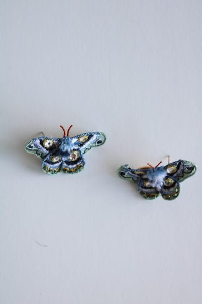 Moth earrings, Mignonne Gavigan, e.Allen, Nashville, Franklin, Murfreesboro