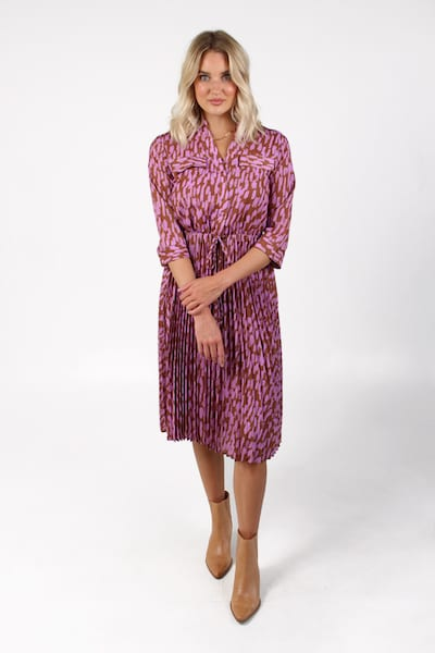Pleated Midi Dress in Bwn Brush, e.Allen, Nashville, franklin, Murfreesboro