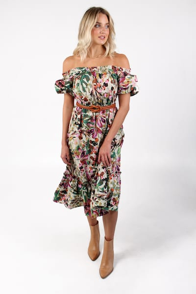 Floral Off the Shoulder Midi, e.Allen, Nashville, franklin, Murfreesboro