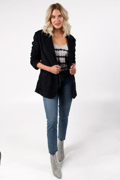 Everly Cord Blazer in Black, Free People, e.Allen, Nashville, Franklin, Murfreesboro