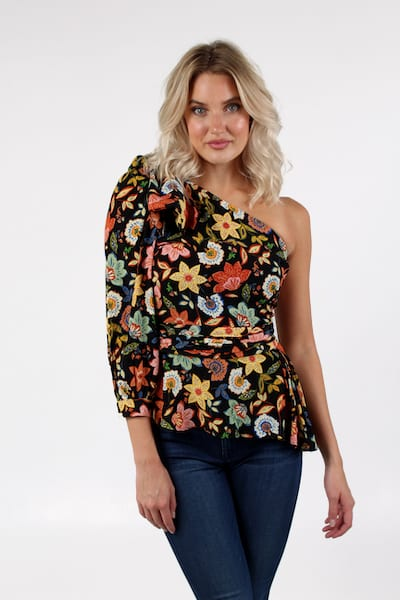 Multi Floral Bow One Shoulder, Imported, e.Allen, Franklin, Murfreesboro