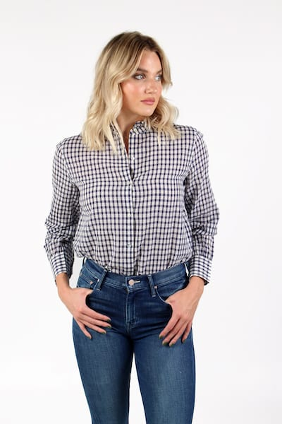 Andie in Navy Check, rails, e.Allen, Nashville, franklin, Murfreesboro
