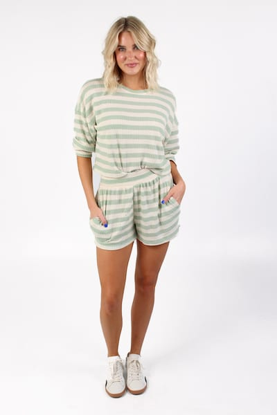 Knit Thermal Striped Shorts, e.Allen, Nashville, Franklin, Murfreesboro