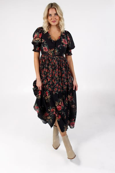 Rose Dress in Rose Print, Sundays, e.Allen, Nashville, franklin, Murfreesboro