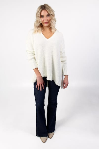 Hug Me Sweater White Fuzzy Knit, Show Me Your Mumu, e.Allen, Nashville, Franklin, Murfreesboro