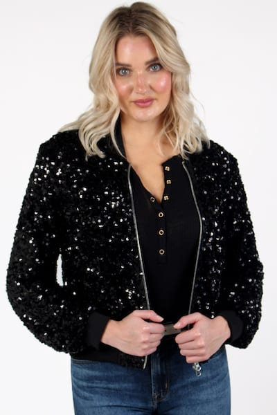 Angela Sequin Bomber in Black, Sen, e.Allen, Nashville, franklin, Murfreesboro