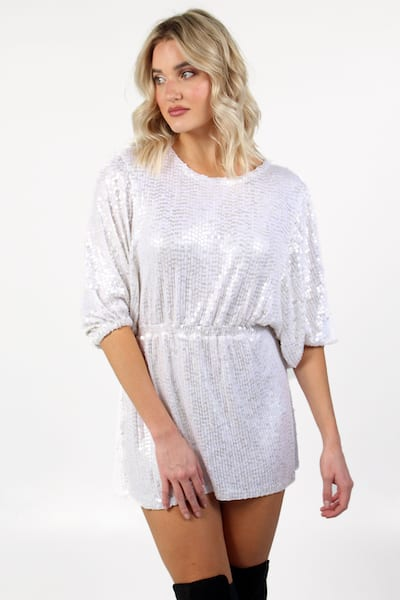 Genevieve Dress White Shine Sequin, Show Me Your Mumu, e.Allen, Nashville, Franklin, Murfreesboro