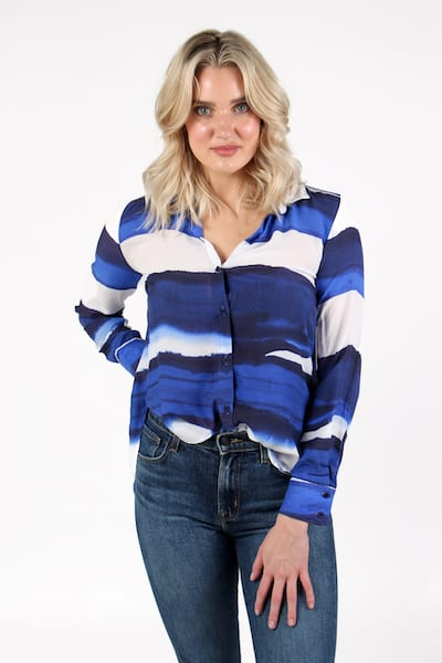 Flowy Button Down Blue Wave Stripe, Bella Dahl, e.Allen, Nashville, franklin, Murfreesboro