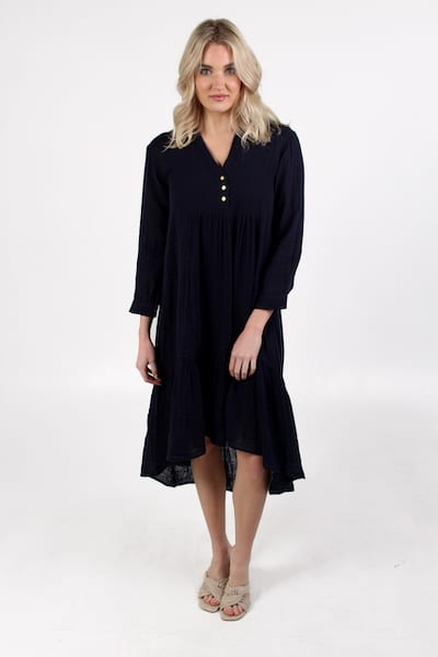 Margot Dress in Navy, Sundays, e.Allen, Nashville, franklin, Murfreesboro