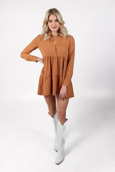 Long Sleeve Pierre Dress in Pecan, Amanda Uprichard, e.Allen, Nashville, Franklin, Murfreesboro