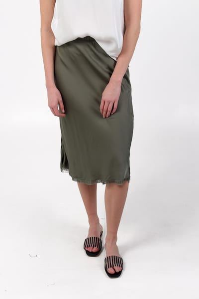 Mabel Bias Skirt in Vintage Army, Nation LTD, e.Allen, Nashville, Franklin, Murfreesboro