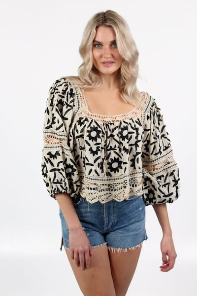 Soleil Embroidered Top in Ivory, Free People, e.Allen, nashville, Franklin, Murfreesboro