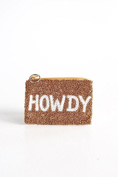 Howdy Coin Purse Gold/White, e.Allen, Nashville, Franklin, Murfreesboro