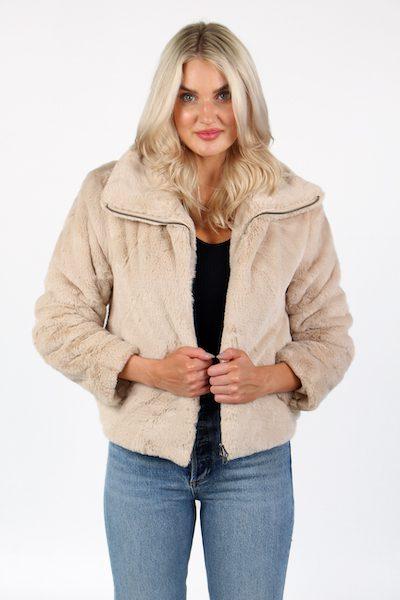 Buona Faux Fur High Neck Jacket, French Connection, e.Allen, Nashville, franklin ,Murfreesboro
