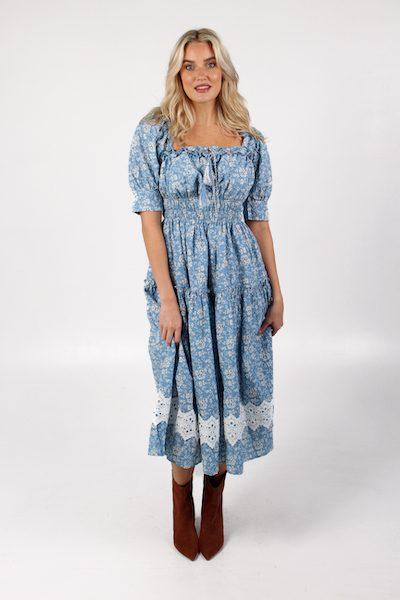 Tassel Square Neck Dress Blue/White, e.Allen ,Nashville, Franklin, Murfreesboro