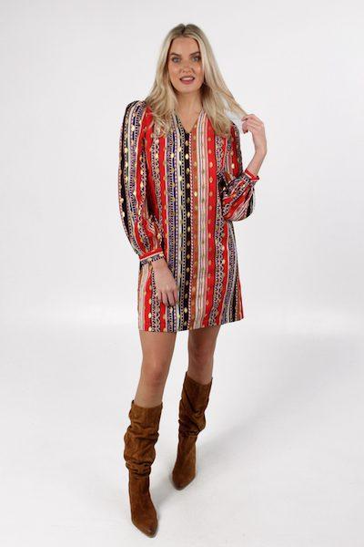Split Neck Dress in Ethnic Stipe, e.Allen, Nashville, franklin, Murfreesboro