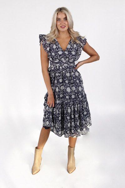 Cherie Midi Dress in Navy Block, Cleobella, e.Allen, Nashville, Franklin, Murfreesboro